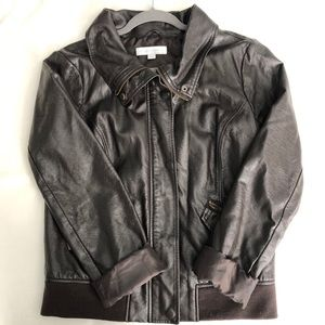 New York & Co. Brown Faux Leather Moto Jacket